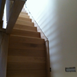 Oak Staircase with 19mm Square Brushed Metal Spindle