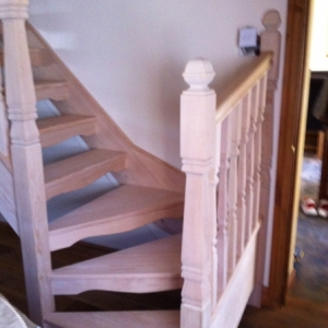 001Hemlock Open Rise with Provincial spindle and Newel Posts