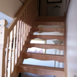 002Hemlock Open Rise with Provincial spindle and Newel Posts