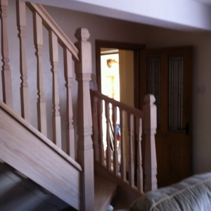 003Hemlock Open Rise with Provincial spindle and Newel Posts