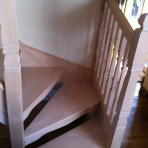 004Hemlock Open Rise with Provincial spindle and Newel Posts