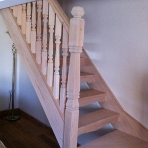 005Hemlock Open Rise with Provincial spindle and Newel Posts