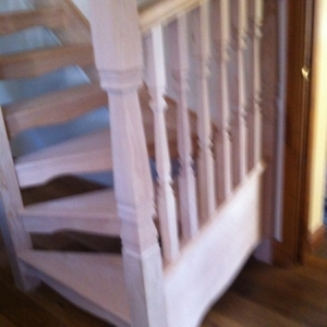 006Hemlock Open Rise with Provincial spindle and Newel Posts
