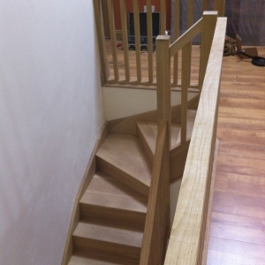 Solid oak stairs, with square oak spindles