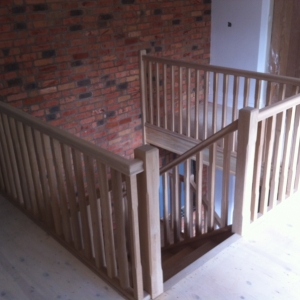 Oak Open Rise With 41mm Stop Chamfered Spindle and Newel Posts