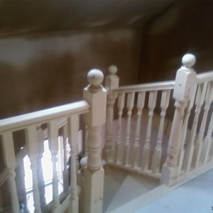 Pine Carpet Grade, with pine colonial spindles and newels